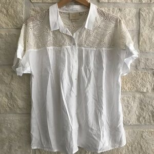 Vanessa Virginia White Button Up Top Ivory Lace 14